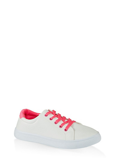 Contrast Detail Lace Up Sneakers,NEON PINK,large