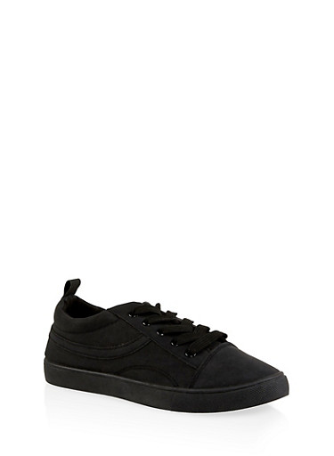 Lace Up Skate Sneakers,BLACK,large