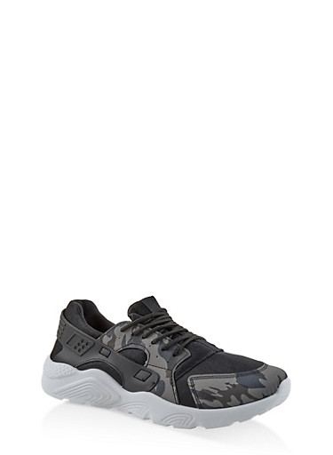 Camo Lace Up Sneakers,BLACK,large