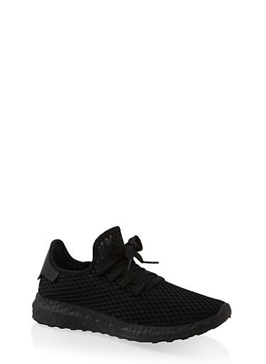 Mesh Athletic Sneakers,BLACK,large