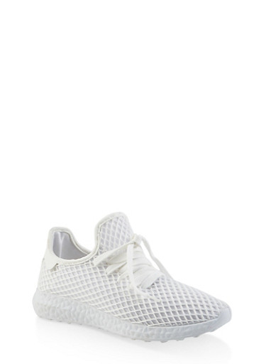 Mesh Athletic Sneakers,WHITE,large