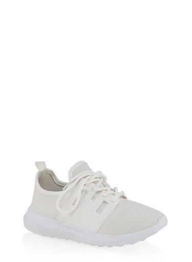 Neoprene Lace Up Athletic Sneakers,WHITE,large