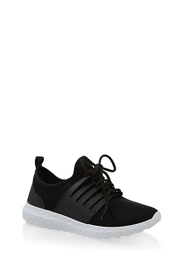Neoprene Lace Up Sneakers,BLACK/WHITE,large