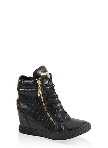 Faux Croc Wedge Sneakers,BLACK,large
