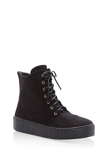 Faux Suede Lace Up Sneakers with Creeper Sole,BLACK,large