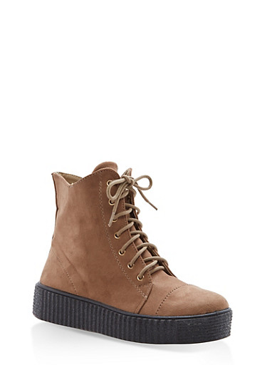 Faux Suede Lace Up Sneakers with Creeper Sole | Tuggl