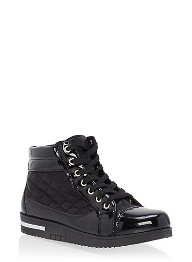 Quilted Faux Patent Leather High Top Sneakers,BLACK,large