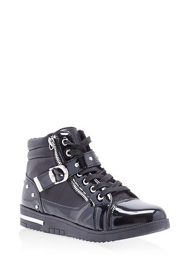 Studded Side Strap High Top Sneakers,BLACK,large