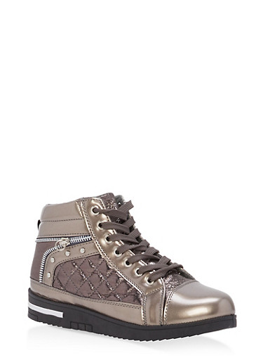 Shimmer Lace Up High Top Sneakers,PEWTER,large