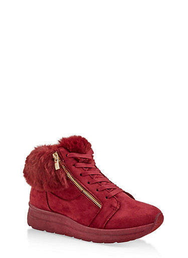 Faux Fur Cuff Sneakers,WINE,large