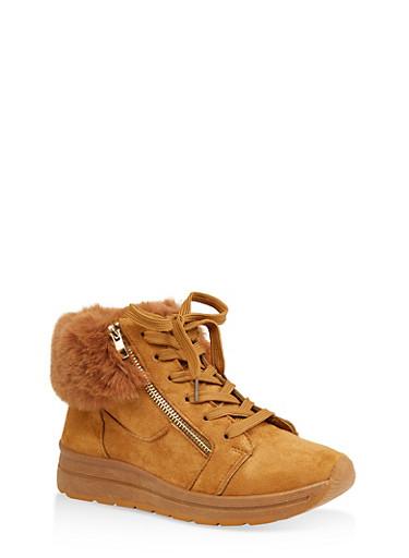 Faux Fur Cuff Sneakers,MUSTARD,large