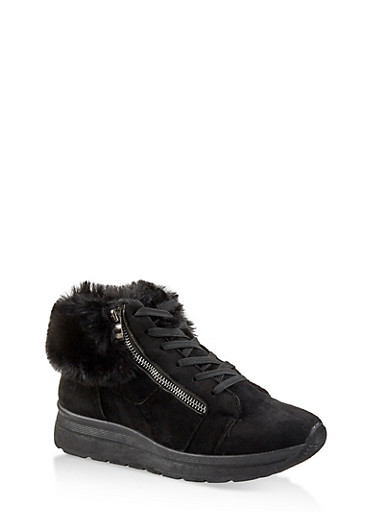 Faux Fur Cuff Sneakers,BLACK SUEDE,large