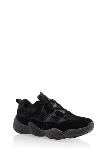 Mesh Insert Lace Up Sneakers,BLACK,large