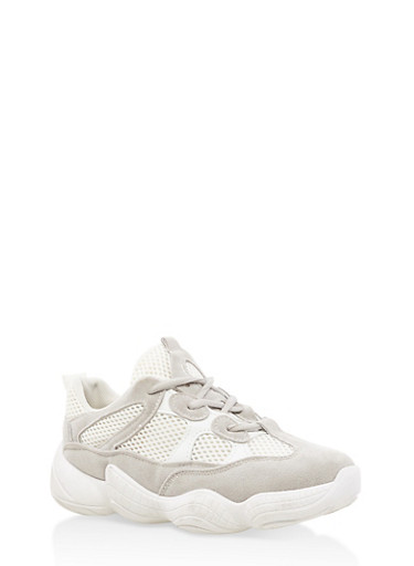 Mesh Insert Lace Up Sneakers,GRAY,large