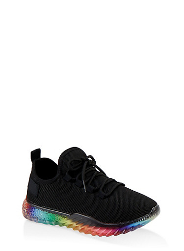 Rainbow Sole Lace Up Sneakers,BLACK,large