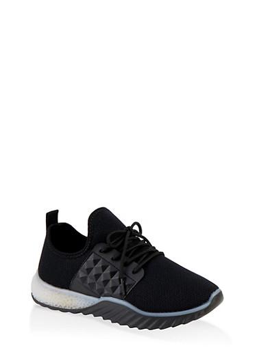 Embossed Detail Knit Athletic Sneakers,BLACK,large