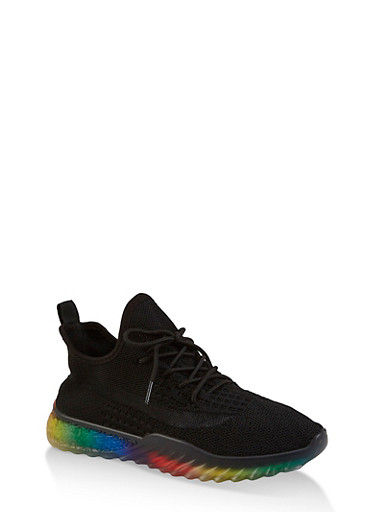 Rainbow Sole Knit Sneakers,BLACK,large
