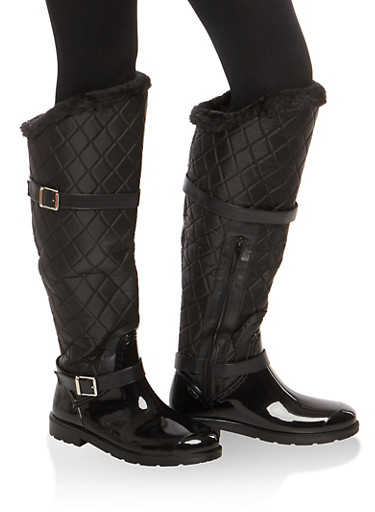 Faux Fur Lined Quilted Rain Boots,BLACK NYLON,large