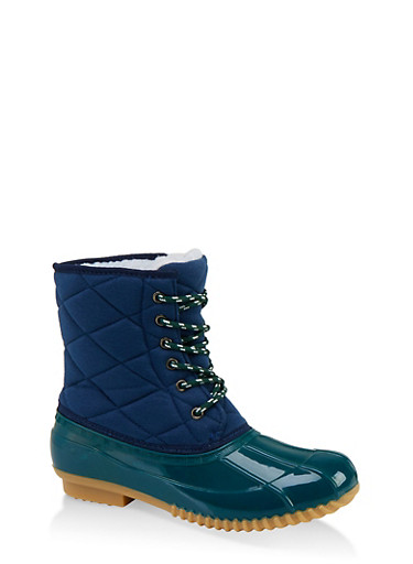 Quilted Lace Up Duck Boots,NAVY,large