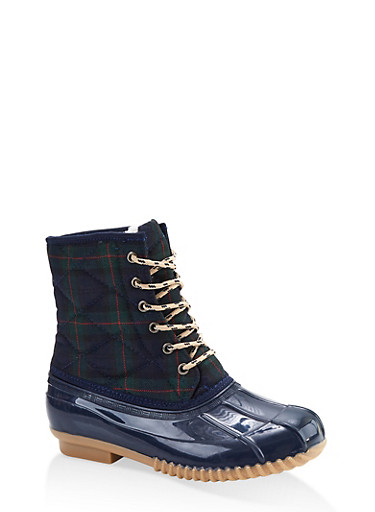Quilted Lace Up Duck Boots,MULTI COLOR,large