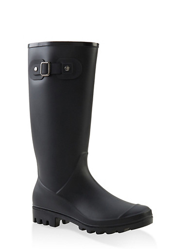 Tall Rubber Rain Boots,BLACK,large