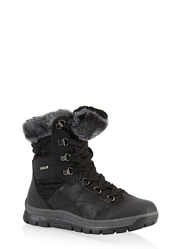 Weatherproof Sherpa Lined Boots,BLACK,large