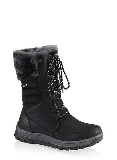 Faux Fur Lined Weatherproof Boots,BLACK,large