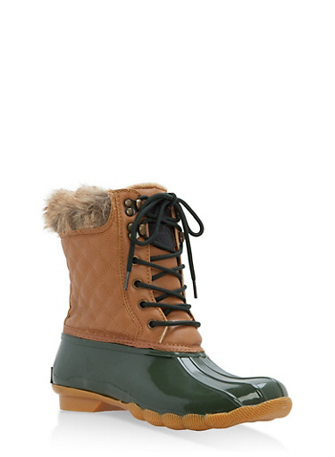 Weatherproof Faux Fur Lined Duck Boots,TAN/GREEN,large