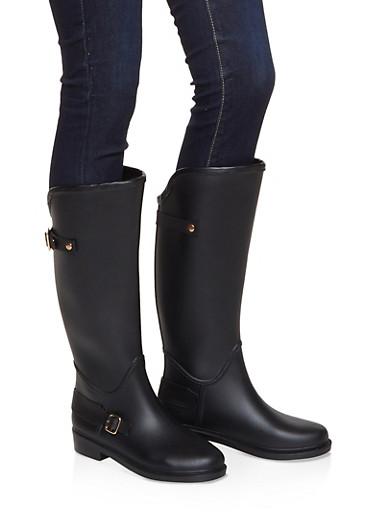 Buckle Detail Rain Boots,BLACK,large