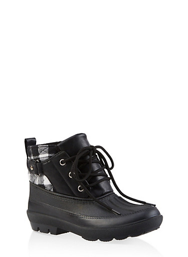 Lace Up Ankle Duck Boots,BLACK/WHITE,large