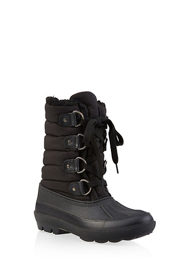 Sherpa Lined Duck Boots,BLACK,large