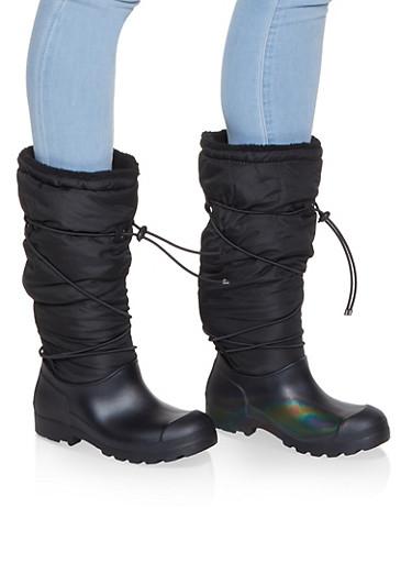 Drawstring Sherpa Lined Weatherproof Boots,BLACK,large