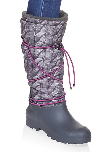 Drawstring Sherpa Lined Weatherproof Boots,GRAY,large