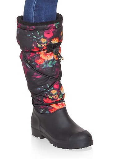 Drawstring Sherpa Lined Weatherproof Boots,BLACK MULTI,large