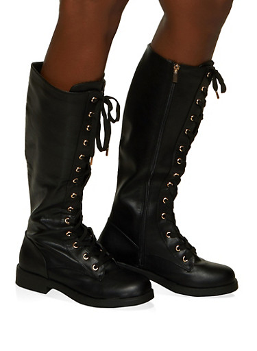 Tall Lace Up Boots,BLACK,large