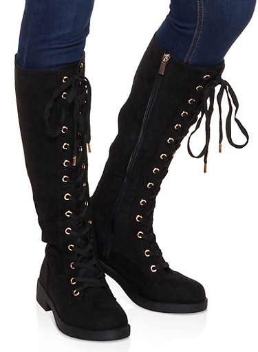 Tall Lace Up Boots,BLACK SUEDE,large