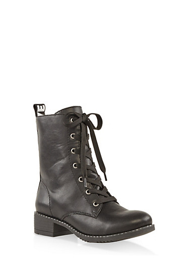 Studded Sole Ribbon Detail Combat Boots,BLACK,large