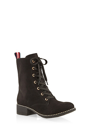 Studded Sole Ribbon Detail Combat Boots,BLACK SUEDE,large