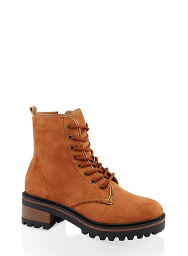 Lace Up Side Zip Combat Boots,BROWN,large