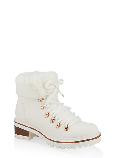 Faux Fur Lined Lace Up Booties,WHITE,large