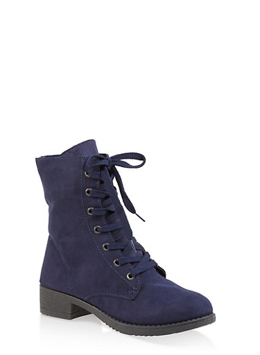 Side Zip Combat Boots,NAVY,large