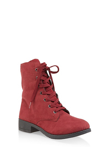 Side Zip Combat Boots,WINE,large