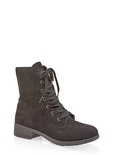 Side Zip Combat Boots,BLACK SUEDE,large