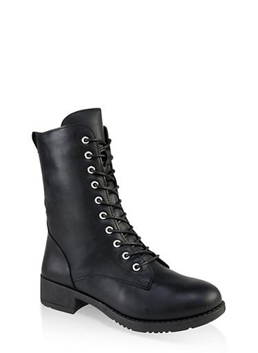 Lace Up Combat Boots | 1116004063475,BLACK,large