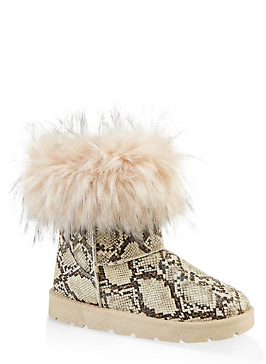 Faux Fur Cuff Boots | 1116004063769,BEIGE,large