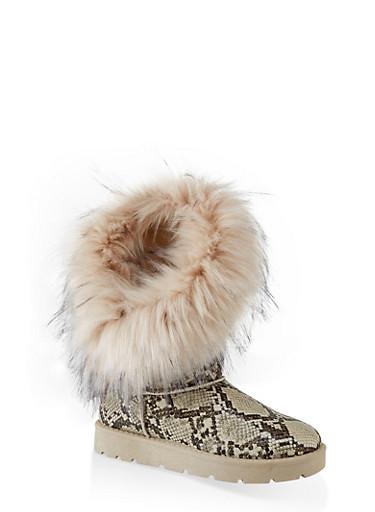 Asymmetrical Faux Fur Lined Boots,BEIGE,large