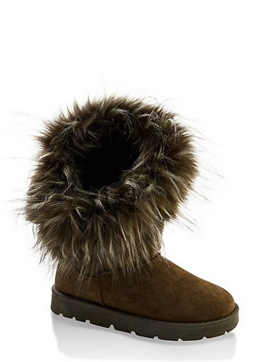 Asymmetrical Faux Fur Booties,OLIVE,large