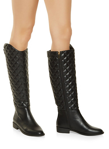 Tall Quilted Boots,BLACK,large