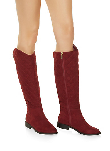 Tall Quilted Boots,WINE,large