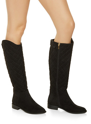 Tall Quilted Boots,BLACK SUEDE,large